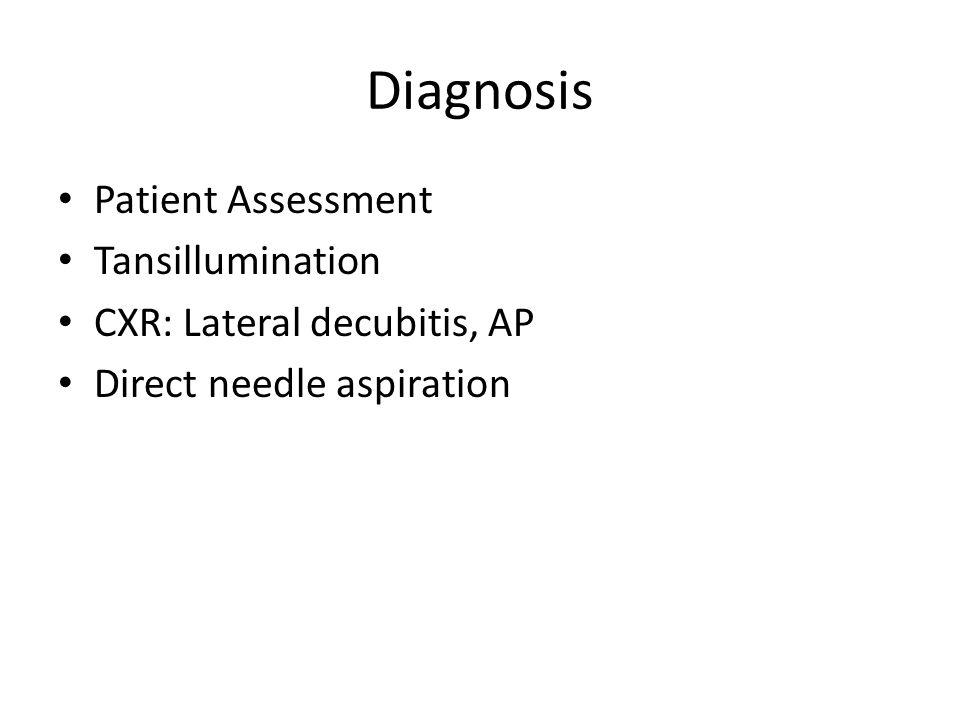Diagnosis Patient Assessment Tansillumination CXR: Lateral decubitis, AP Direct needle aspiration