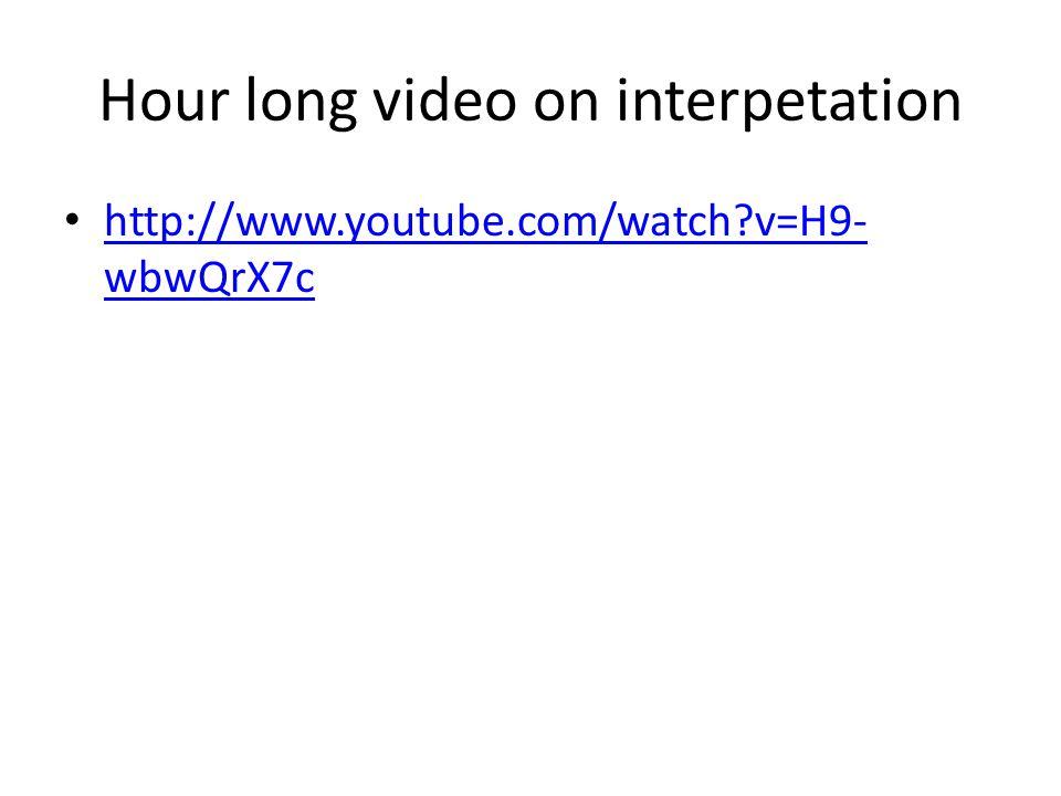 Hour long video on interpetation http://www.youtube.com/watch?v=H9- wbwQrX7c http://www.youtube.com/watch?v=H9- wbwQrX7c