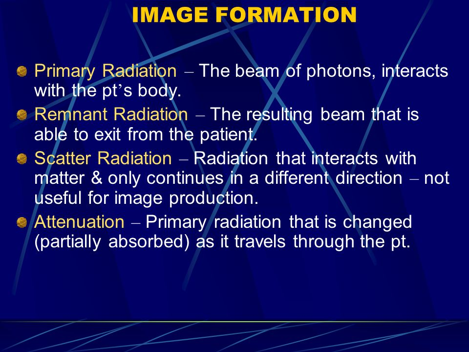 Primary Radiation – The beam of photons, interacts with the pt ' s body.