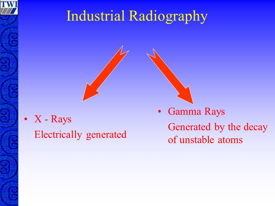 Industrial Radiography X - Rays Electrically generated Gamma Rays Generated by the decay of unstable atoms