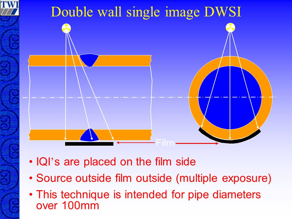 Double wall single image DWSI IQI ' s are placed on the film side Source outside film outside (multiple exposure) This technique is intended for pipe diameters over 100mm