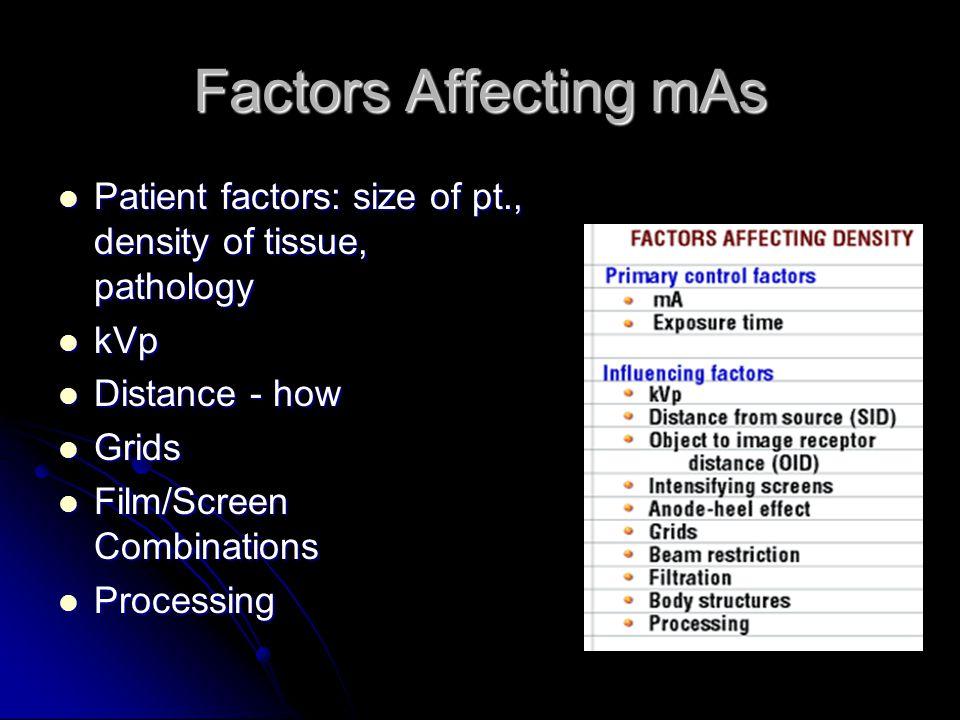 Factors Affecting mAs LIST 6 factors LIST 6 factors