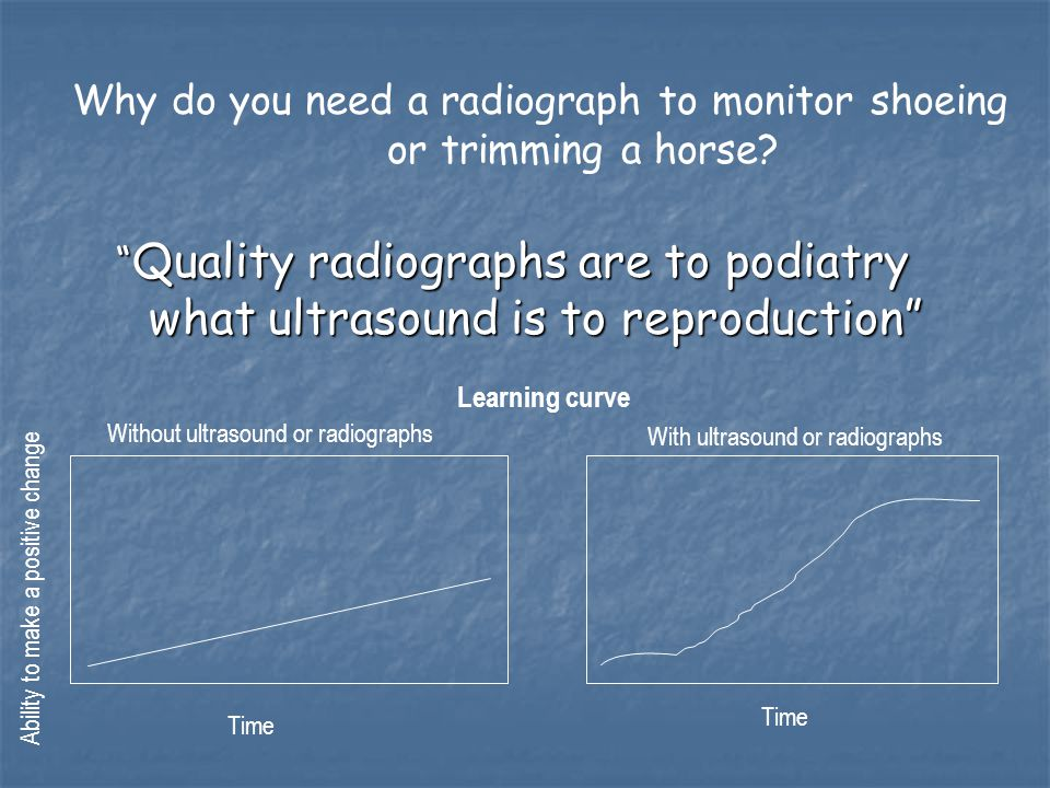 """ Quality radiographs are to podiatry what ultrasound is to reproduction"" Learning curve Ability to make a positive change Time Without ultrasound or"