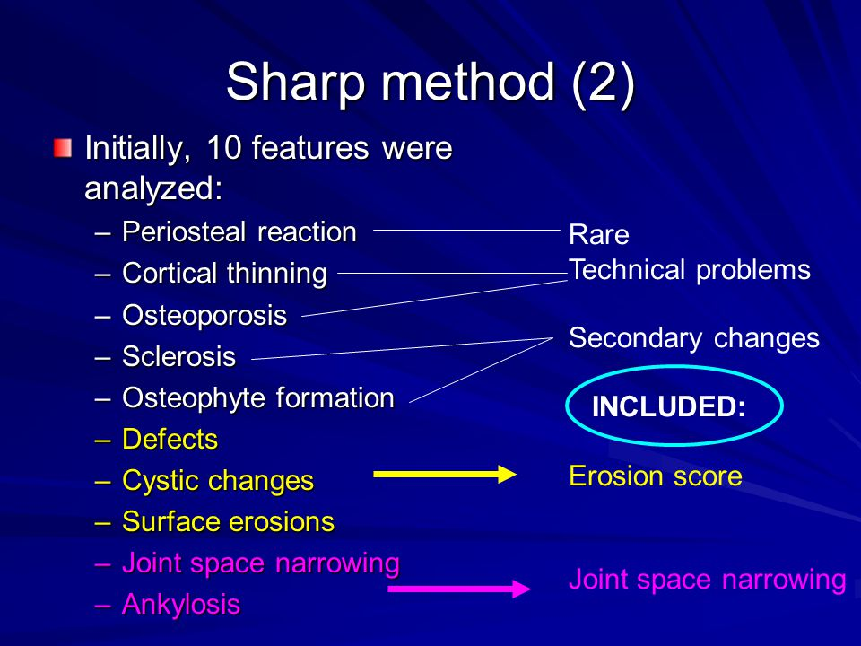 Sharp method (3) Erosion score; principles: –Score 0-5 for each joint –one point for each erosion in each joint and 5 for total destruction –29 areas were analyzed in both hands+wrists – maximum possible score: 290