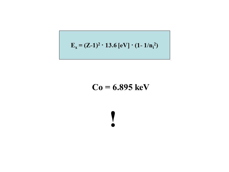 E x = (Z-1) 2 · 13.6 [eV] · (1- 1/n i 2 ) Co = 6.895 keV !