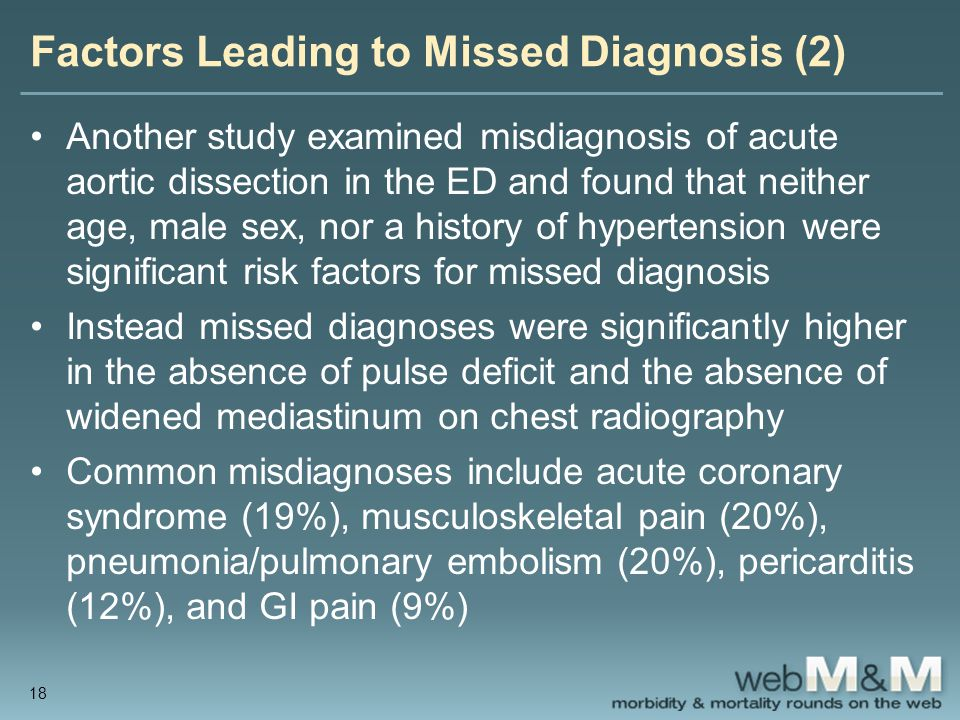 Factors Leading to Missed Diagnosis (2) Another study examined misdiagnosis of acute aortic dissection in the ED and found that neither age, male sex,