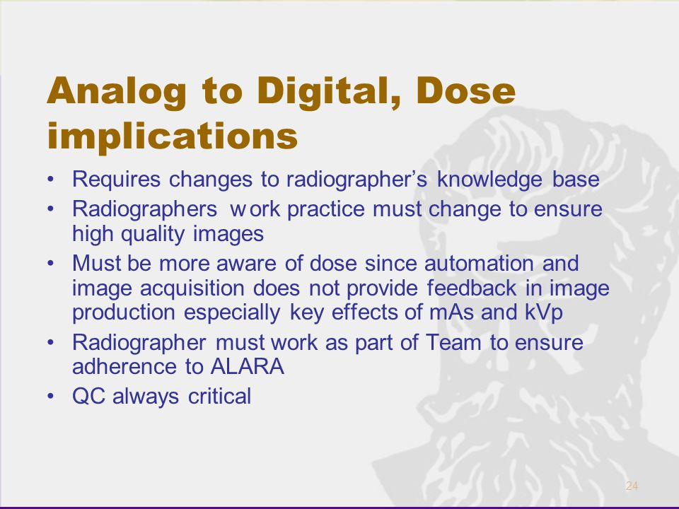 24 Analog to Digital, Dose implications Requires changes to radiographer's knowledge base Radiographers w ork practice must change to ensure high qual