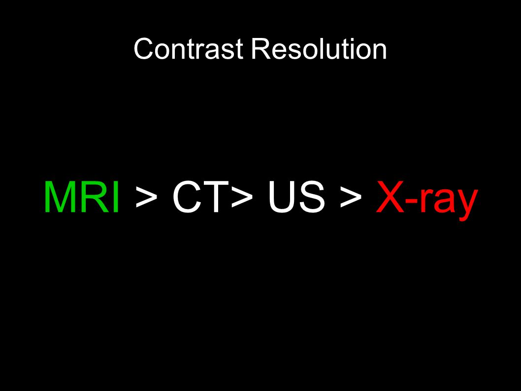 Contrast Resolution MRI > CT> US > X-ray