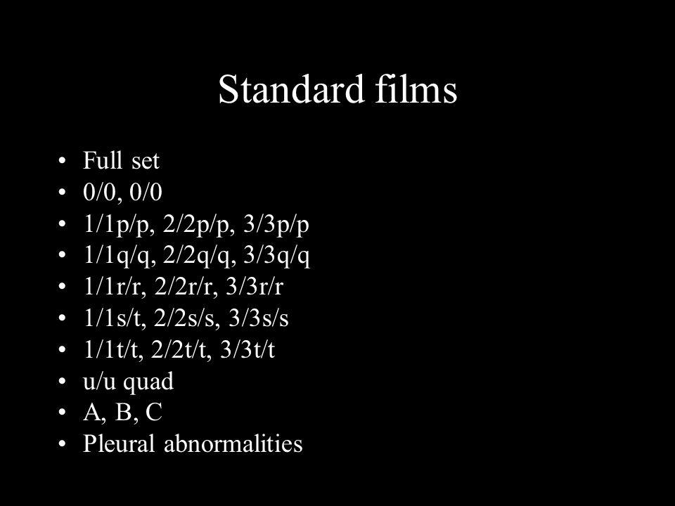 Standard films Full set 0/0, 0/0 1/1p/p, 2/2p/p, 3/3p/p 1/1q/q, 2/2q/q, 3/3q/q 1/1r/r, 2/2r/r, 3/3r/r 1/1s/t, 2/2s/s, 3/3s/s 1/1t/t, 2/2t/t, 3/3t/t u/u quad A, B, C Pleural abnormalities