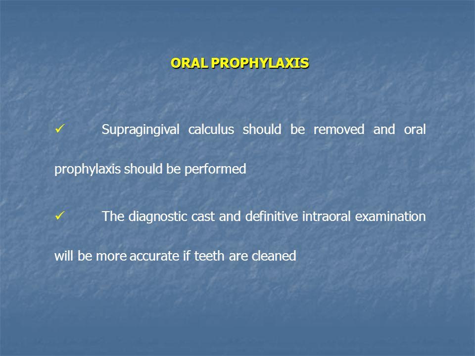 Definitive oral examination Evaluation of caries and existing restoration Evaluation of caries and existing restoration