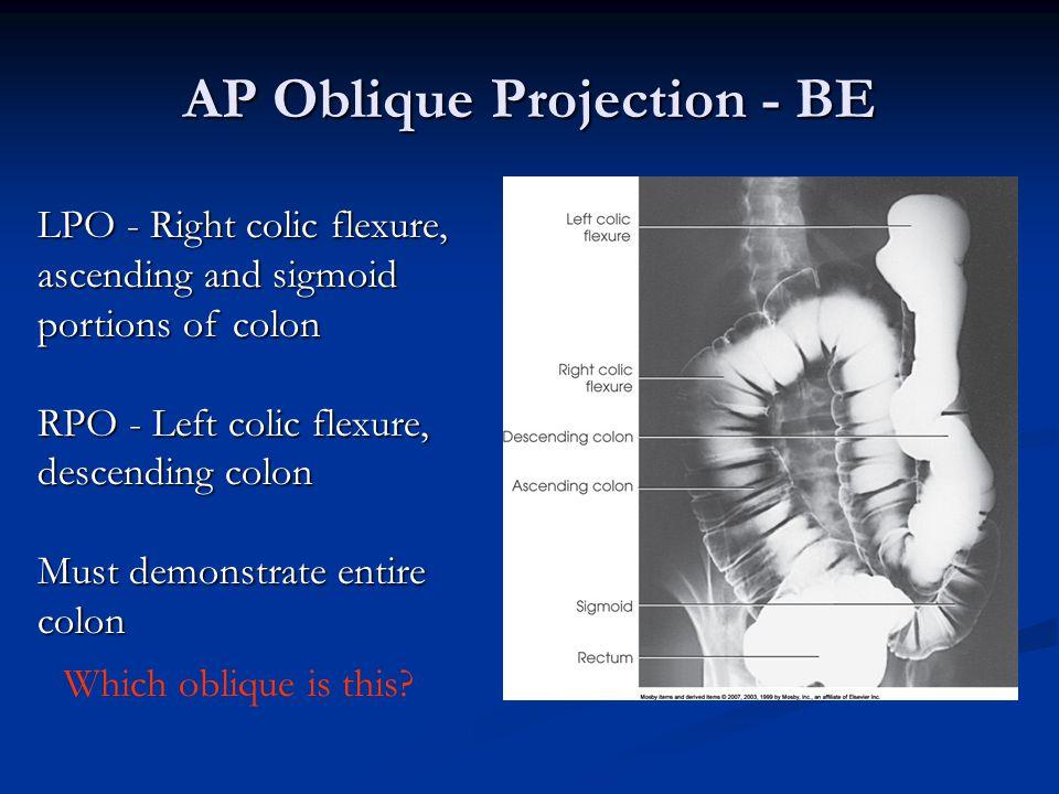 AP Oblique Projection - BE LPO - Right colic flexure, ascending and sigmoid portions of colon RPO - Left colic flexure, descending colon Must demonstr