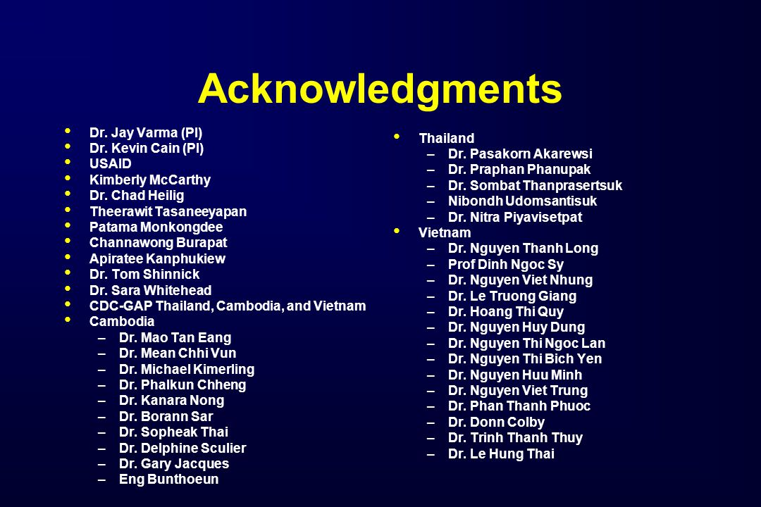Acknowledgments Dr. Jay Varma (PI) Dr. Kevin Cain (PI) USAID Kimberly McCarthy Dr.