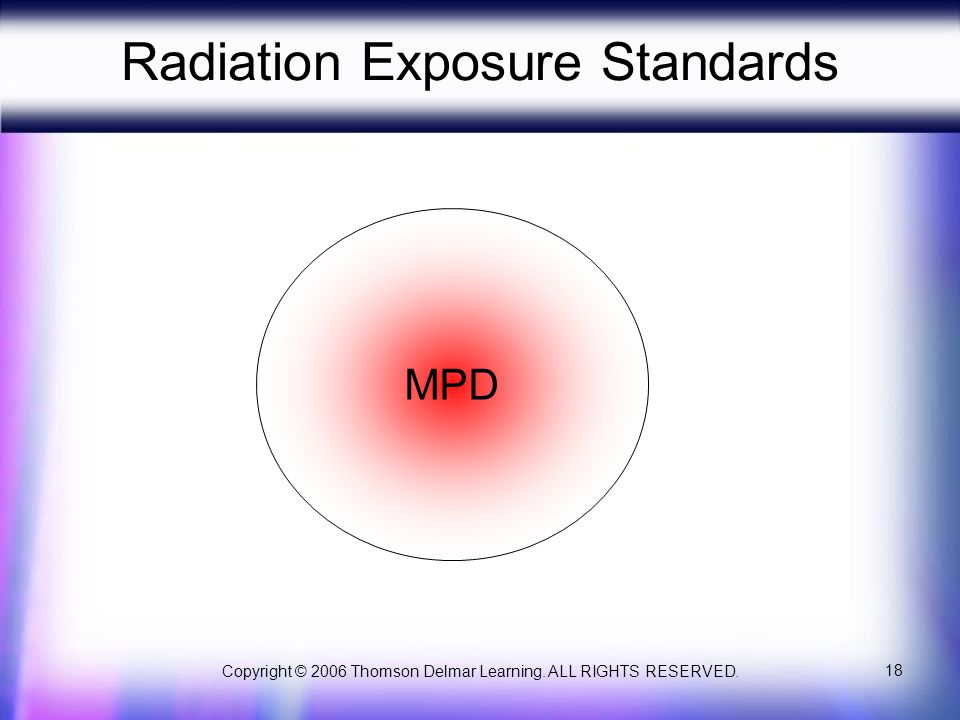 Copyright © 2006 Thomson Delmar Learning. ALL RIGHTS RESERVED. 18 Radiation Exposure Standards MPD