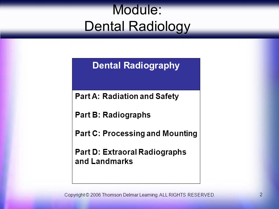 Copyright © 2006 Thomson Delmar Learning. ALL RIGHTS RESERVED. 2 Module: Dental Radiology Dental Radiography Part A: Radiation and Safety Part B: Radi