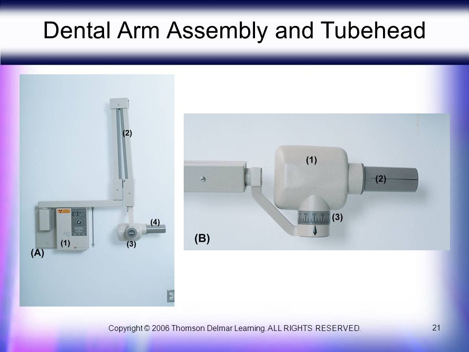 Copyright © 2006 Thomson Delmar Learning. ALL RIGHTS RESERVED. 21 Dental Arm Assembly and Tubehead