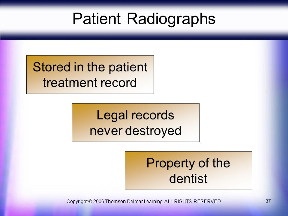 Copyright © 2006 Thomson Delmar Learning. ALL RIGHTS RESERVED. 37 Patient Radiographs Stored in the patient treatment record Legal records never destr