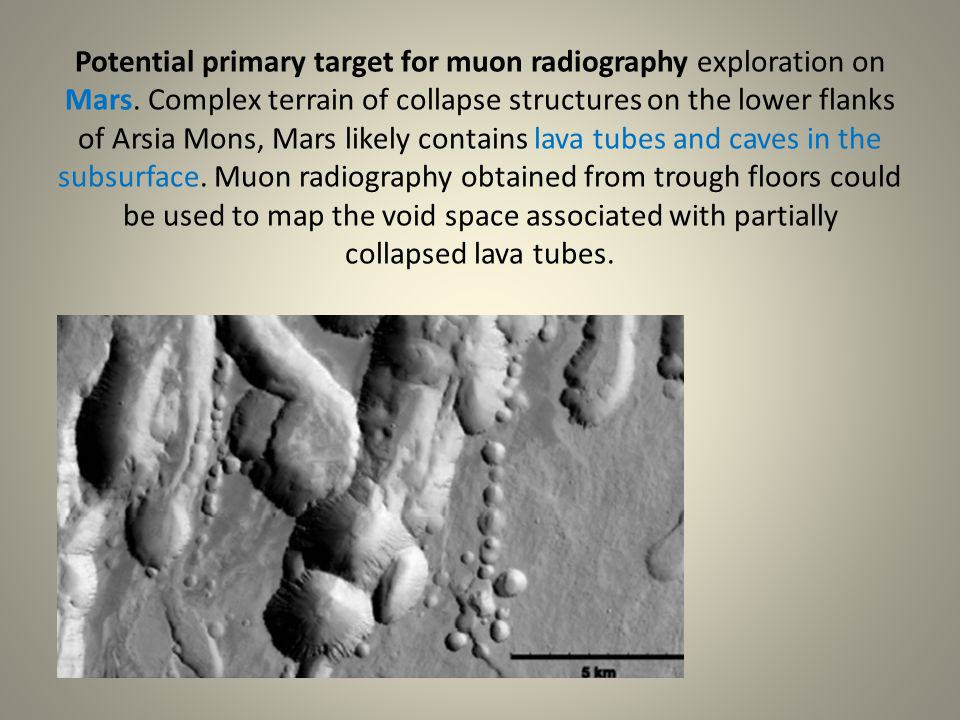 Potential primary target for muon radiography exploration on Mars. Complex terrain of collapse structures on the lower flanks of Arsia Mons, Mars like