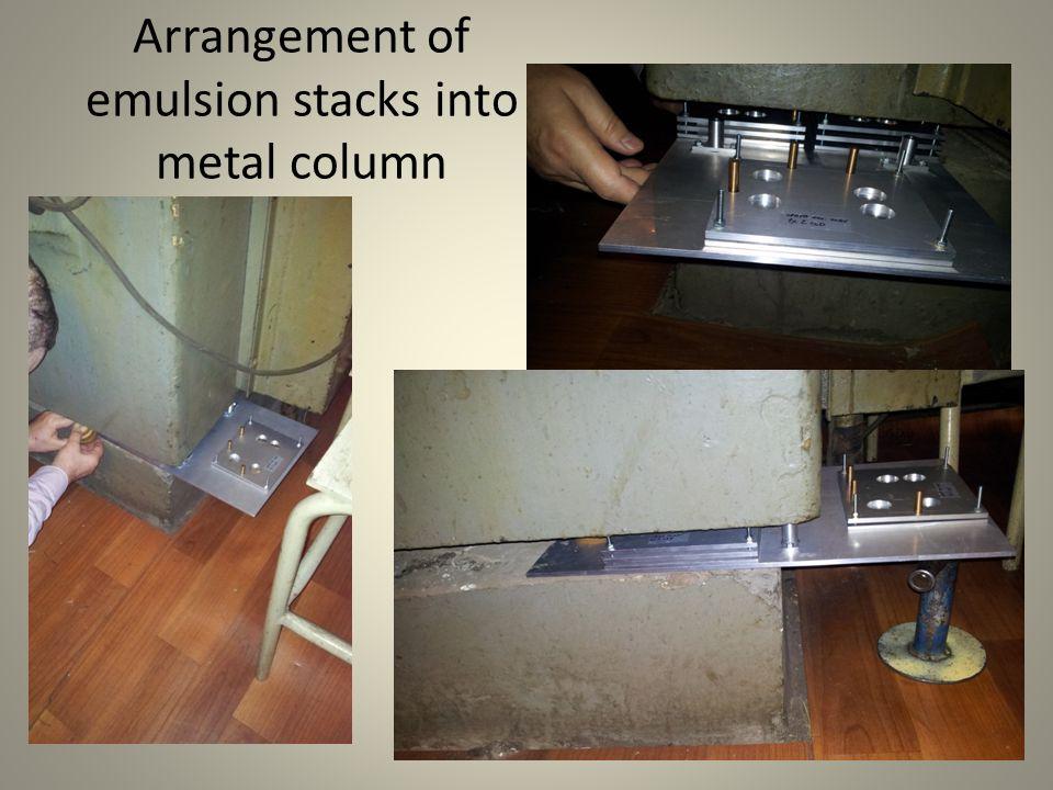 Arrangement of emulsion stacks into metal column