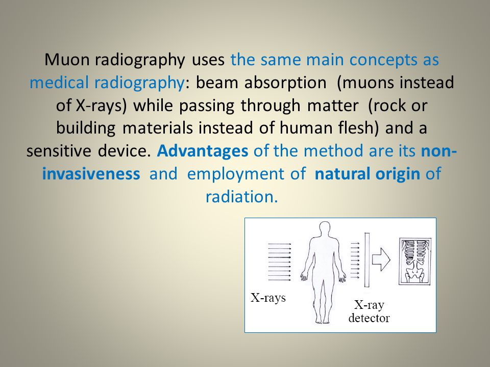 Muon radiography uses the same main concepts as medical radiography: beam absorption (muons instead of X-rays) while passing through matter (rock or b