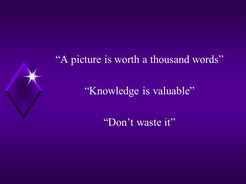 """""""A picture is worth a thousand words"""" """"Knowledge is valuable"""" """"Don't waste it"""""""