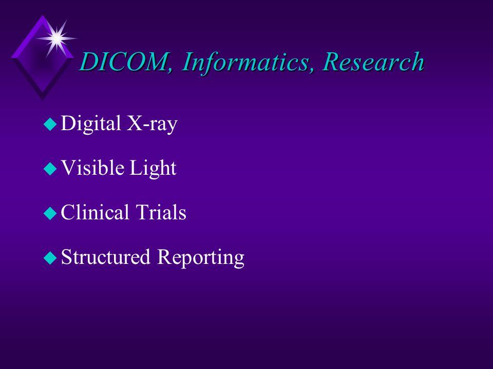 DICOM, Informatics, Research u Digital X-ray u Visible Light u Clinical Trials u Structured Reporting