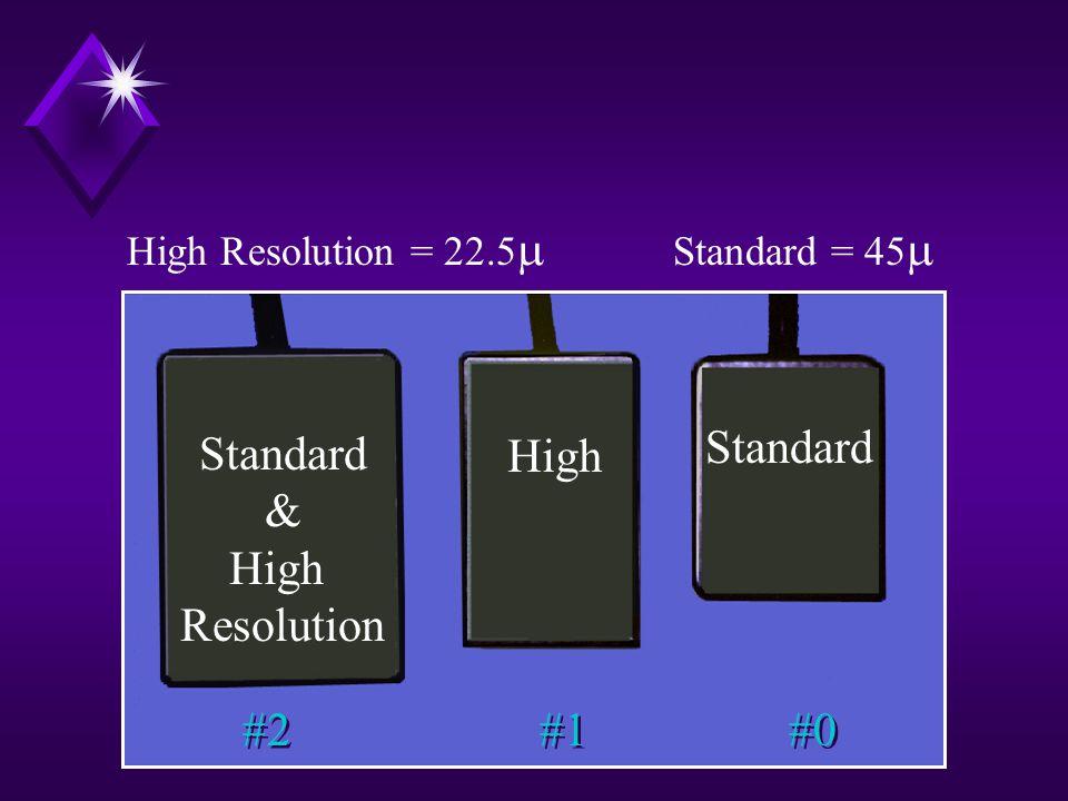 #2 #1 #0 Standard & High Resolution High Standard High Resolution = 22.5  Standard = 45 