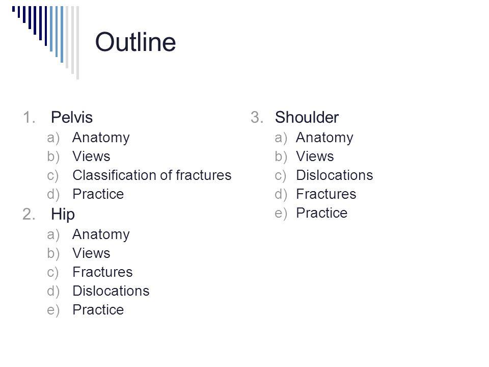 Outline  Pelvis  Anatomy  Views  Classification of fractures  Practice  Hip  Anatomy  Views  Fractures  Dislocations  Practice  Shoulder  Anatomy  Views  Dislocations  Fractures  Practice