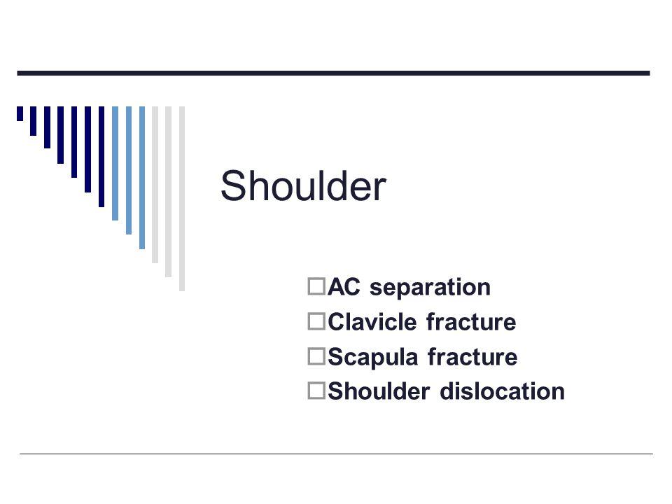Shoulder  AC separation  Clavicle fracture  Scapula fracture  Shoulder dislocation