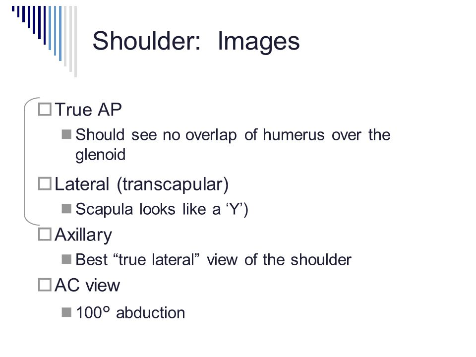 Shoulder: Images  True AP Should see no overlap of humerus over the glenoid  Lateral (transcapular) Scapula looks like a 'Y')  Axillary Best true lateral view of the shoulder  AC view 100° abduction