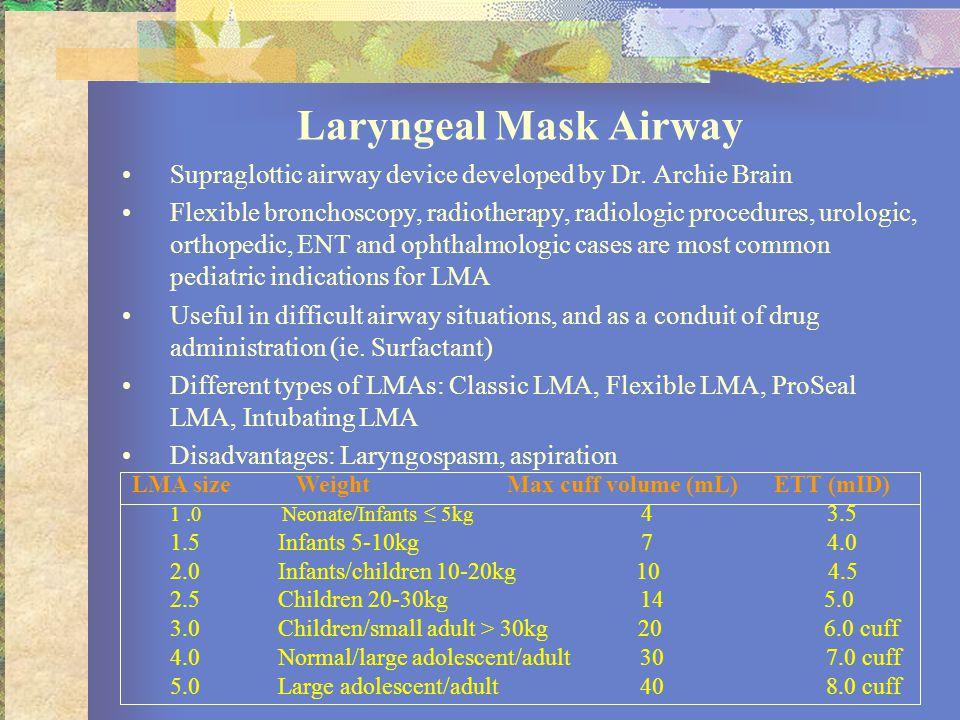 Laryngeal Mask Airway Supraglottic airway device developed by Dr.