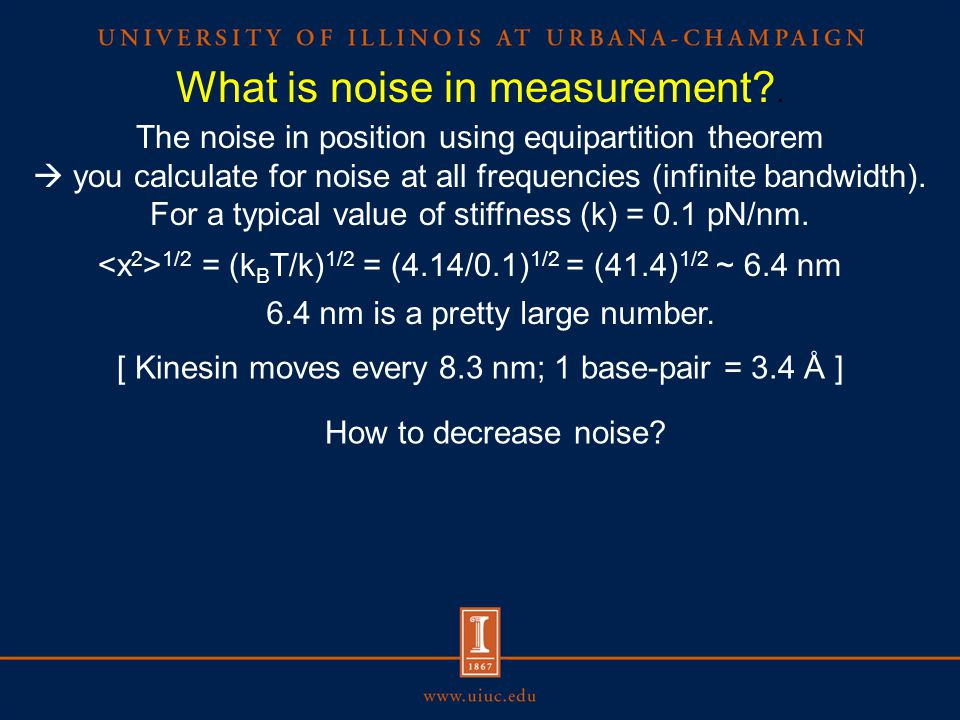 The noise in position using equipartition theorem  you calculate for noise at all frequencies (infinite bandwidth).