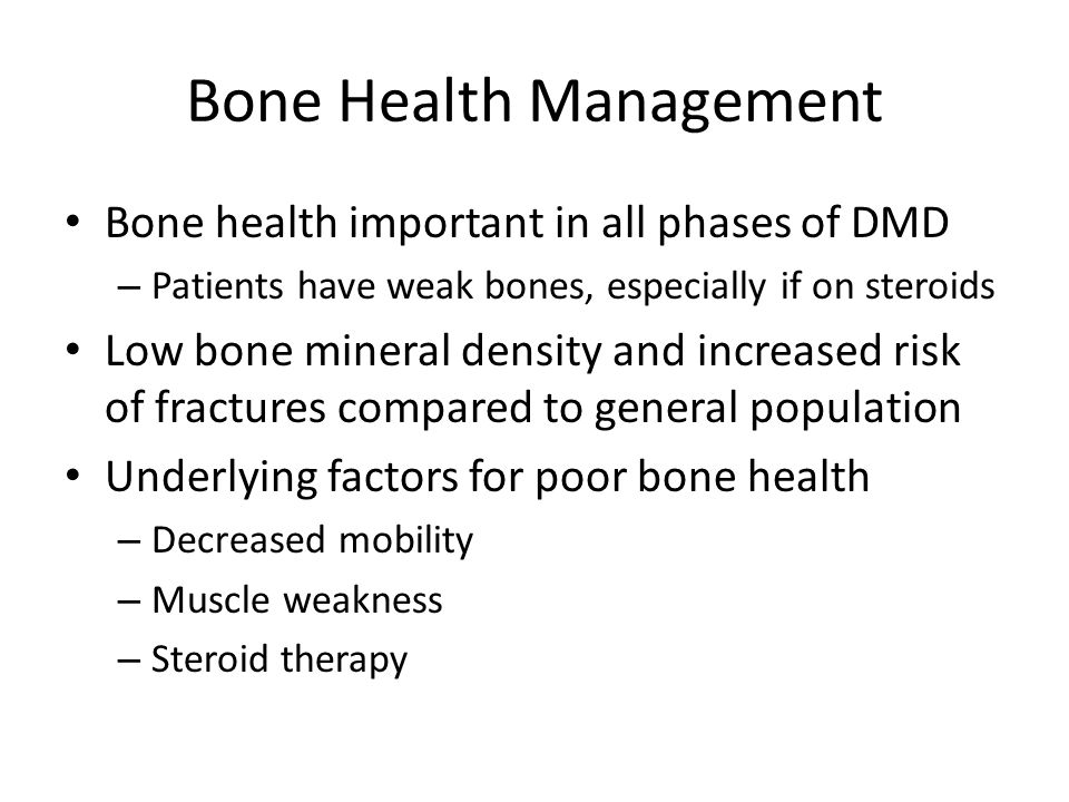 Bone Health: Interventions Possible interventions – Vitamin D: needed if genuine deficiency.
