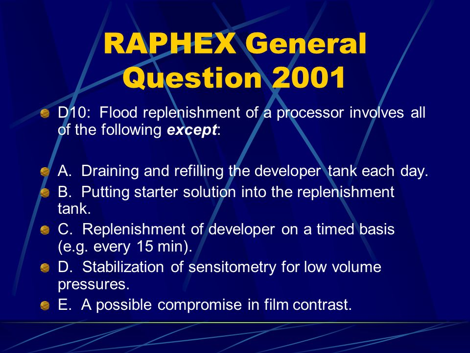 RAPHEX Answer to 2003 General Question G80 E.
