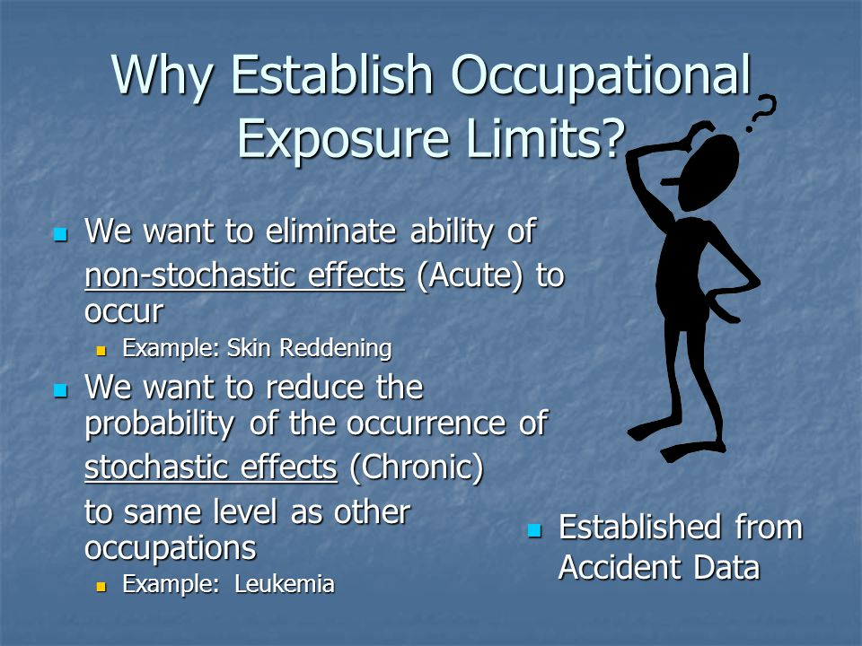 Why Establish Occupational Exposure Limits.