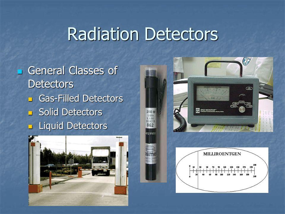 Radiation Detectors General Classes of Detectors General Classes of Detectors Gas-Filled Detectors Gas-Filled Detectors Solid Detectors Solid Detectors Liquid Detectors Liquid Detectors
