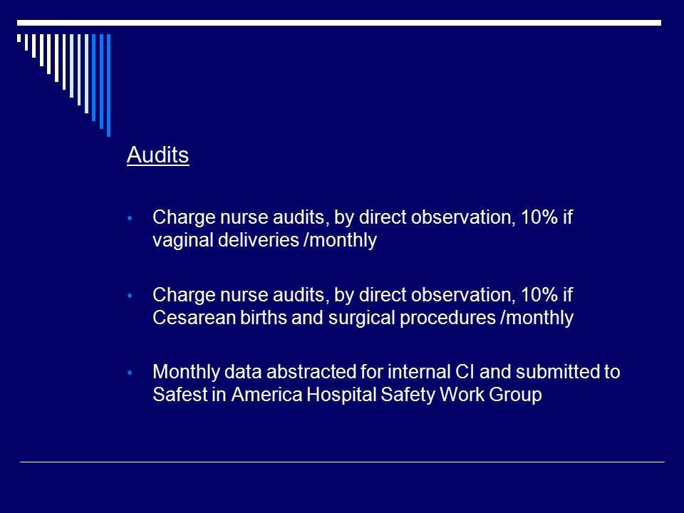 Audits Charge nurse audits, by direct observation, 10% if vaginal deliveries /monthly Charge nurse audits, by direct observation, 10% if Cesarean birt