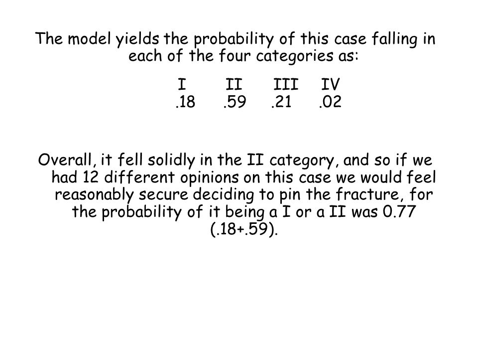 The model yields the probability of this case falling in each of the four categories as: IIIIIIIV.18.59.21.02 Overall, it fell solidly in the II categ