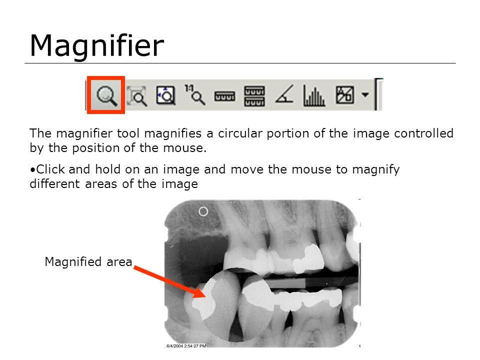 Magnifier The magnifier tool magnifies a circular portion of the image controlled by the position of the mouse. Click and hold on an image and move th