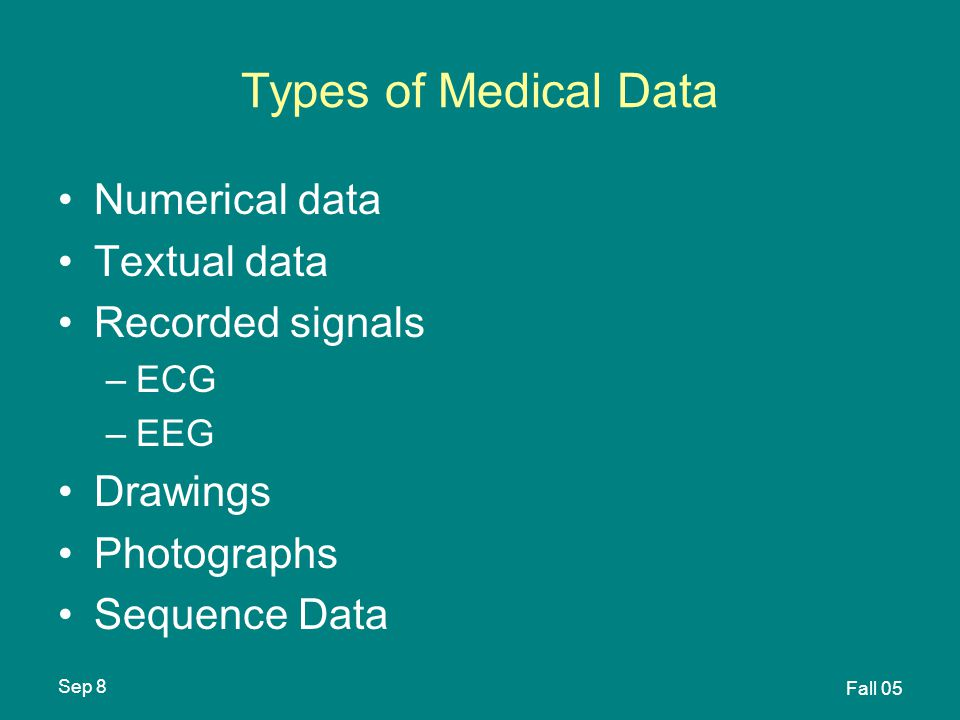 Sep 8 Fall 05 Types of Medical Data Numerical data Textual data Recorded signals –ECG –EEG Drawings Photographs Sequence Data