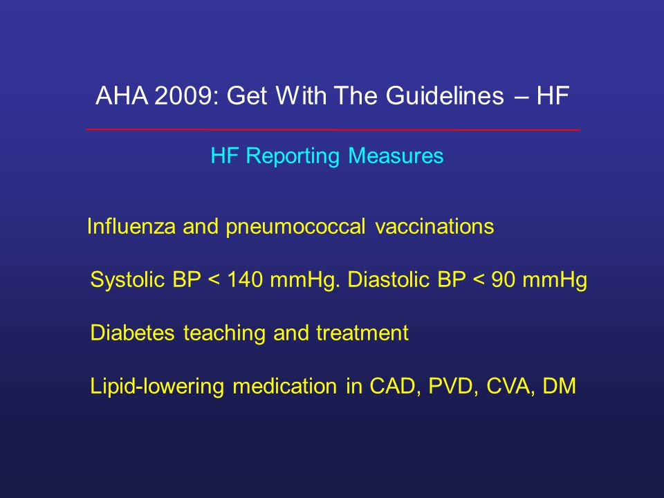 AHA 2009: Get With The Guidelines – HF HF Reporting Measures Influenza and pneumococcal vaccinations Systolic BP < 140 mmHg.