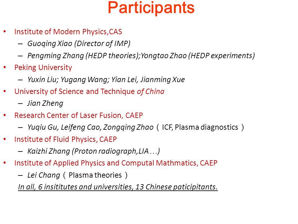 Participants Institute of Modern Physics,CAS – Guoqing Xiao (Director of IMP) – Pengming Zhang (HEDP theories);Yongtao Zhao (HEDP experiments) Peking