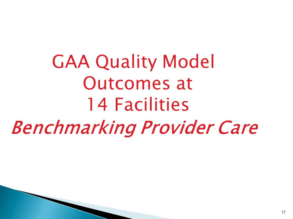 17 GAA Quality Model Outcomes at 14 Facilities Benchmarking Provider Care