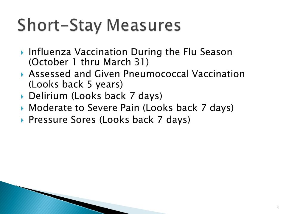4  Influenza Vaccination During the Flu Season (October 1 thru March 31)  Assessed and Given Pneumococcal Vaccination (Looks back 5 years)  Deliriu