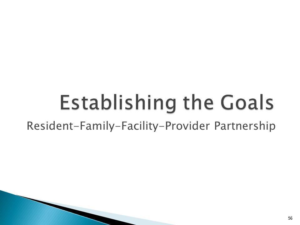 56 Establishing the Goals Resident-Family-Facility-Provider Partnership 56