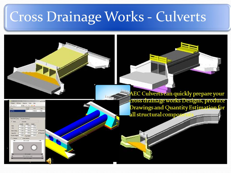Cross Drainage Works - Culverts AEC Culverts can quickly prepare your cross drainage works Designs, produce Drawings and Quantity Estimation for all structural components