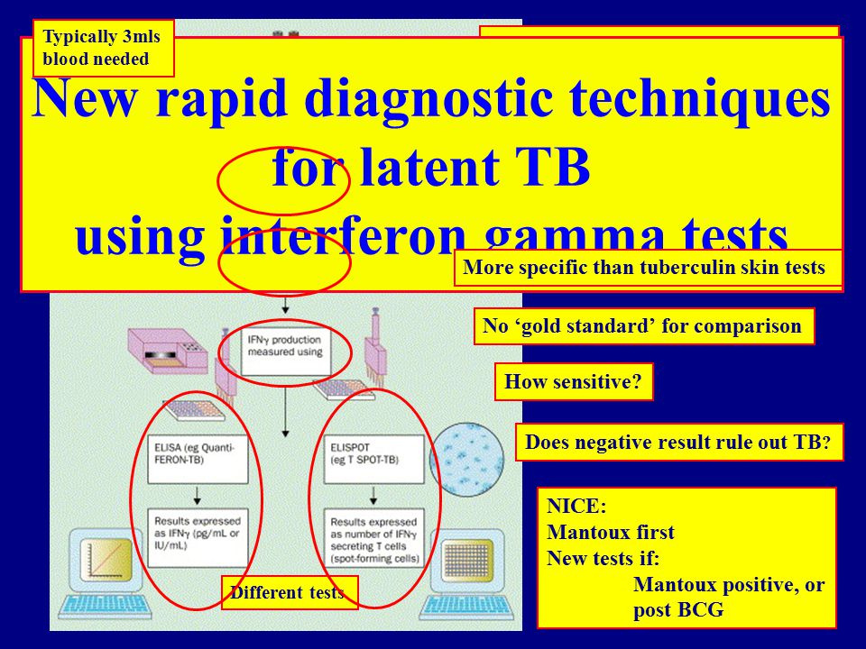 ESAT-6 (early secretion antigen target 6) CFP-10 (culture filtrate protein 10) Not present in BCG, most environmental non-TB mycobacteria New rapid diagnostic techniques for latent TB using interferon gamma tests Typically 3mls blood needed Different tests More specific than tuberculin skin tests No 'gold standard' for comparison Does negative result rule out TB .