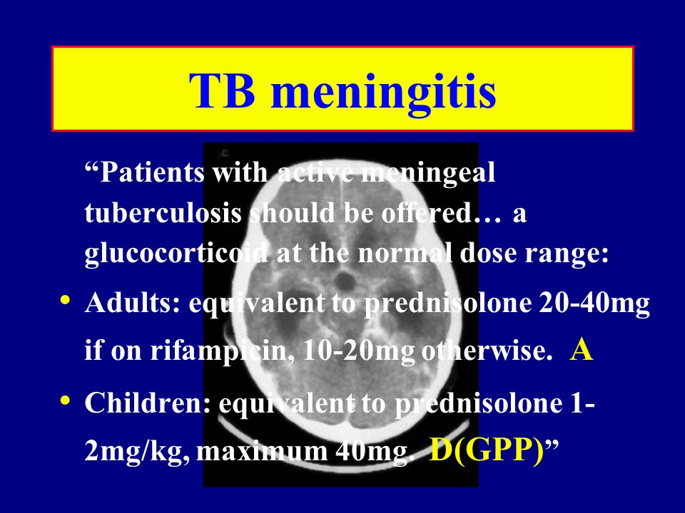 TB meningitis Patients with active meningeal tuberculosis should be offered… a glucocorticoid at the normal dose range: Adults: equivalent to prednisolone 20-40mg if on rifampicin, 10-20mg otherwise.