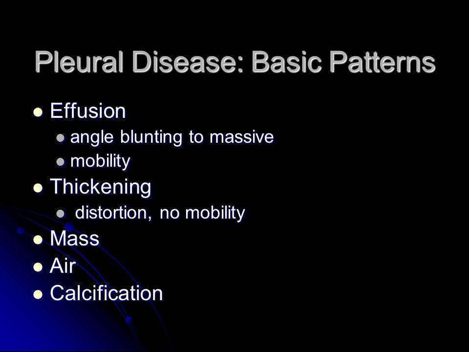 Pleural Disease: Basic Patterns Effusion Effusion angle blunting to massive angle blunting to massive mobility mobility Thickening Thickening distorti
