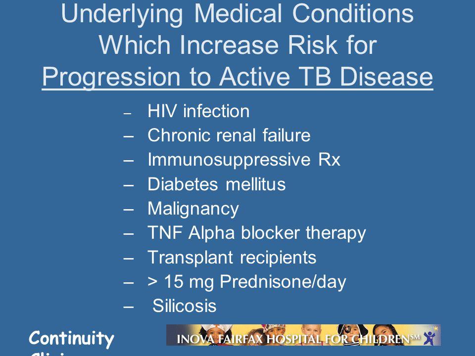 Continuity Clinic – HIV infection –Chronic renal failure –Immunosuppressive Rx –Diabetes mellitus –Malignancy –TNF Alpha blocker therapy –Transplant r