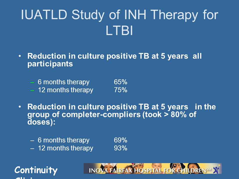 Continuity Clinic Reduction in culture positive TB at 5 years all participants –6 months therapy 65% –12 months therapy 75% Reduction in culture posit